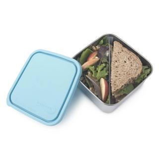 【美國 U Konserve】大方形不鏽鋼分隔便當盒 -一抹天藍(二分格可拆)