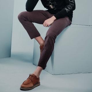 【PLAYBOY】修身拉鍊束腳靴型長褲(紅棕色)