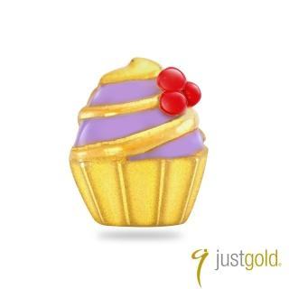 【Just Gold 鎮金店】繽紛派對系列 黃金單耳耳環-杯子蛋糕