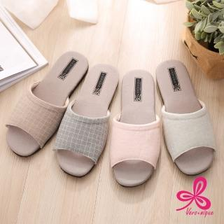 【維諾妮卡】除臭調溫★復古健康環保竹炭拖鞋(4色)