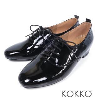 【KOKKO集團】日不落思念方頭真皮綁帶牛津鞋(經典黑)