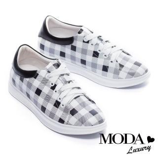 【MODA Luxury】經典格紋拼接全真皮厚底休閒鞋(黑)