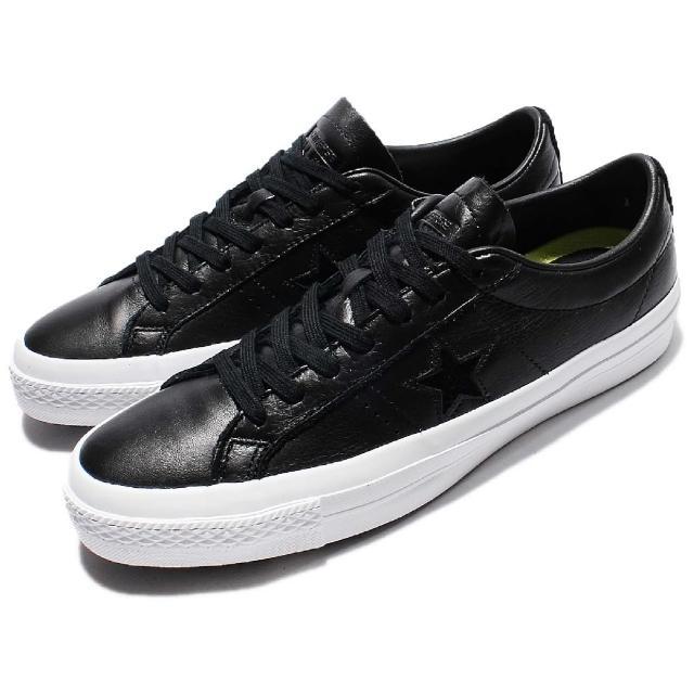 【CONVERSE】休閒鞋 ONE STAR OX 低筒 運動 男鞋 皮革 基本款 一顆星 穿搭 Lunar鞋墊 黑白(155548C)