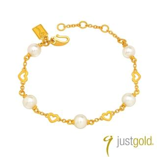 【Just Gold 鎮金店】星語心願純金系列 黃金手鍊-心形
