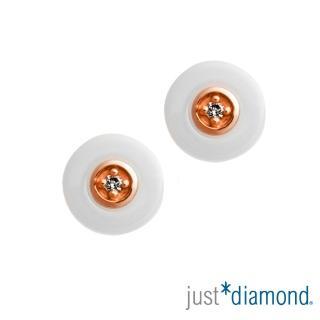 【Just Diamond】Day & Night 日與夜系列 18K金鑽石耳環-Hug-白