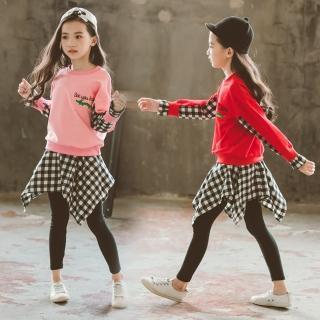 【小衣衫童裝】中大女童長袖T恤不規則格子裙褲套裝(1070839)