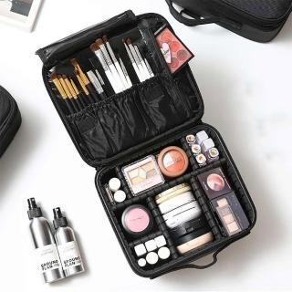 【UNIQE】豪華多功能隔層分類化妝包 彩妝保養品收納 眼影粉餅刷具唇膏 旅行旅遊 新娘秘書必備 硬殼刷具包