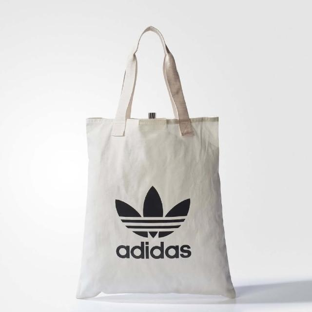 【adidas 愛迪達】購物袋 Shopper Bag 外出 休閒 愛迪達 Originals 三葉草 穿搭 白 黑(BQ7569)