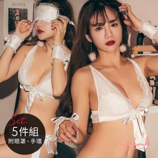 【i PINK 愛粉紅】大罩杯 危險情人 獨家前扣無鋼圈薄襯內衣情趣五件組(白)