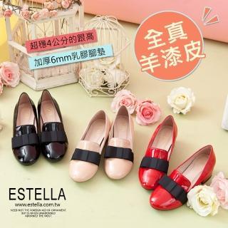 【ESTELLA】羊漆皮織帶蝴蝶低跟鞋(共三色)
