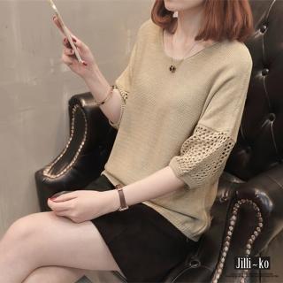 【Jilli-ko】半袖鏤空寬鬆針織衫-F(黑/杏/粉)