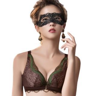 【Swear 思薇爾】薔薇魅影系列B-E罩深V蕾絲包覆內衣(深可可)