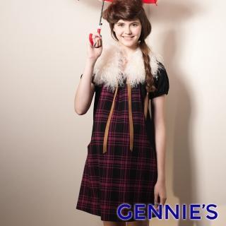 【Gennies 奇妮】格紋拼接羊毛短袖洋裝(紫紅/藍/白G1407)