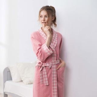 【La Felino 羅絲美】愜意生活長袖洋裝睡浴袍(格紋粉)