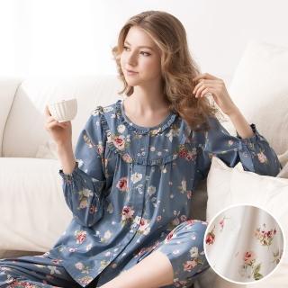 【La Felino 羅絲美】玫瑰系列長袖褲裝睡衣(純淨白)