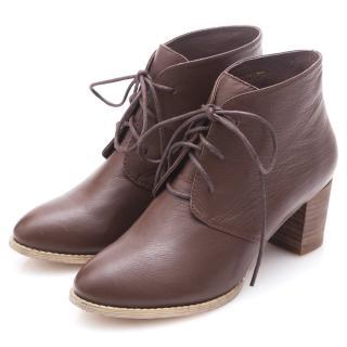 【G.Ms.】牛皮優美楦頭綁帶粗跟短靴(咖啡)