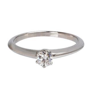 【Tiffany&Co. 蒂芙尼】PT950圓型六爪0.22克拉鑽石戒指(19244725-#10.5)