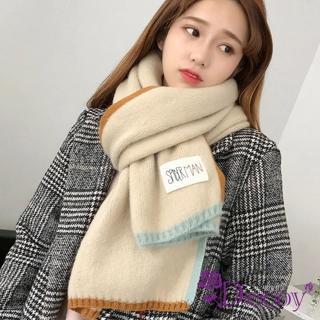 【Decoy】雙色彩框*學院男女中性保暖圍巾/米