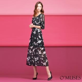 【OMUSES】印花雪紡長洋裝Y60-5182(S-2L)