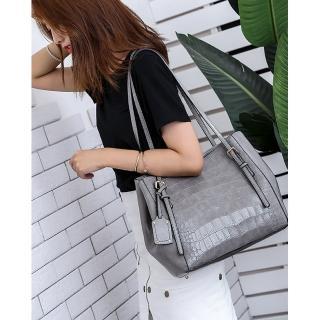 【leaper】時尚大容量鱷魚紋托特包單肩包 共3色(大容量購物袋)