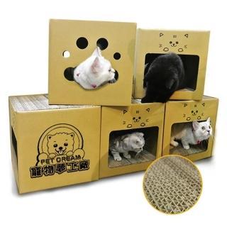【夢工廠 貓抓屋超值6入裝】MIT耐抓貓屋 貓屋 每入內含4片貓抓板 貓玩具 貓窩 貓床(貓屋 貓抓板 貓玩具)