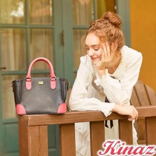 【KINAZ】迷人風采兩用斜背包-蔻丹桃紅-模特兒系列
