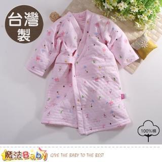 【魔法Baby】嬰兒長袍 台灣製三層棉厚保暖純棉護手長睡袍(b0096)