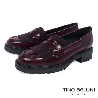 【TINO BELLINI 貝里尼】義大利進口復古學院風單層流蘇樂福鞋B79204A(酒紅)