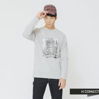 【H:CONNECT】韓國品牌 男裝 - 黑白圖像風格上衣(灰色)