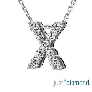 【Just Diamond】Love Words字母系列 18K金鑽石墜子-X