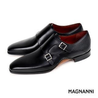 【MAGNANNI】經典皮底雙扣孟克鞋(黑色 20532-BL)