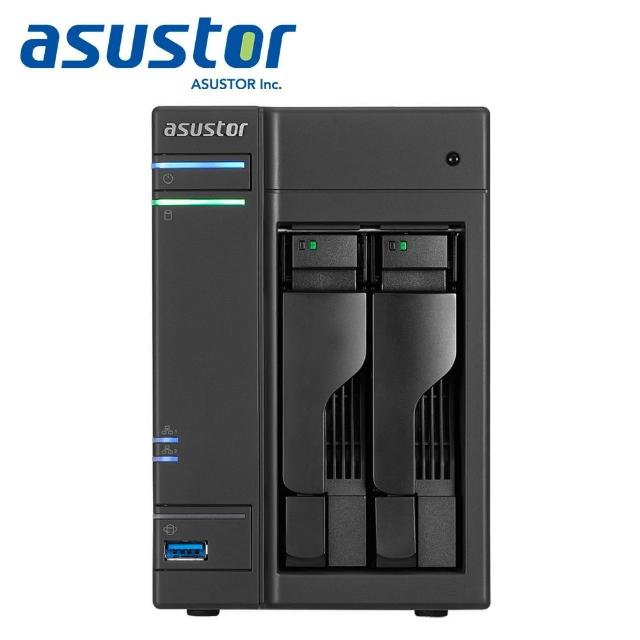 【WD 4TB】2入組 NAS硬碟(WD40EFRX)+【ASUSTOR】AS6302T 2Bay NAS網路儲存伺服器