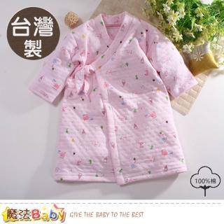 【魔法Baby】嬰兒長袍 台灣製三層棉厚保暖純棉護手長睡袍(b0103)