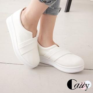 【Caiiy】簡約純色舒適厚底休閒鞋A342(白色/黑色)