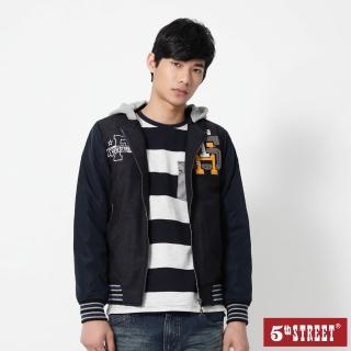 【5th STREET】男學院配色長袖外套-丈青