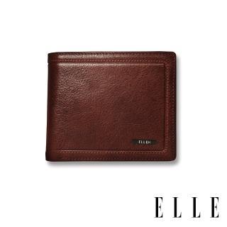 【ELLE HOMME】金屬Logo系列-6卡三折窗格真皮皮夾/短夾/零錢袋(紳士棕EL207048)