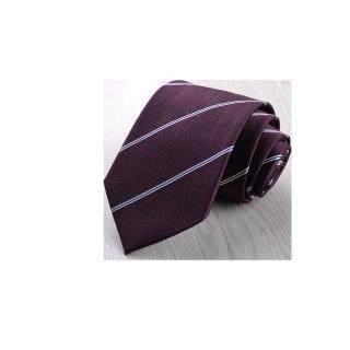 【拉福】領帶8cm寬版茄利領帶拉鍊領帶(葡萄紫紅)