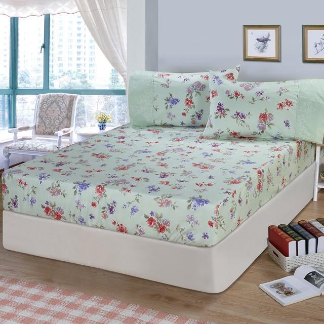 【FITNESS】精梳棉特大床包+枕套三件組-穠芳(綠)/