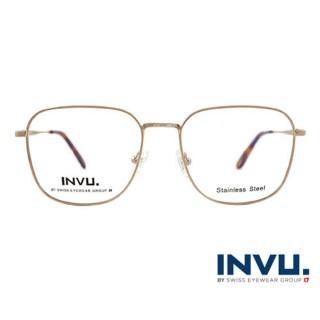 【【INVU】瑞士文雅質感細方框光學眼鏡(白金/琥珀) B3910C】B3910C