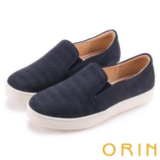 【ORIN】引出度假氣氛 沖孔牛皮休閒平底便鞋(深藍)