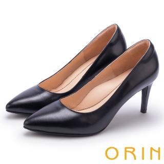 【ORIN】典雅氣質 素面羊皮百搭尖頭高跟鞋(黑色)