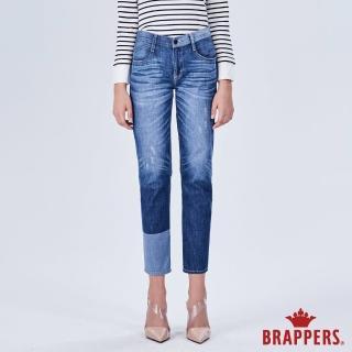 【BRAPPERS】女款 Boy friend系列-拼色八分反摺褲(藍)
