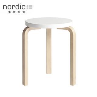 【北歐櫥窗】Artek Stool 60 三腳圓凳(原木腳 x 純白椅面)