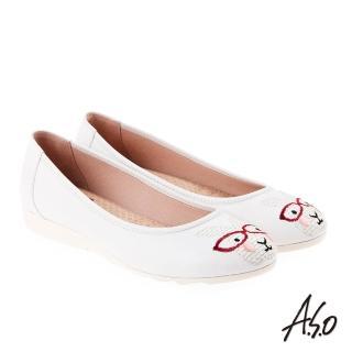 【A.S.O 阿瘦集團】活耀品味 真皮柔軟刺繡娃娃鞋(白色)