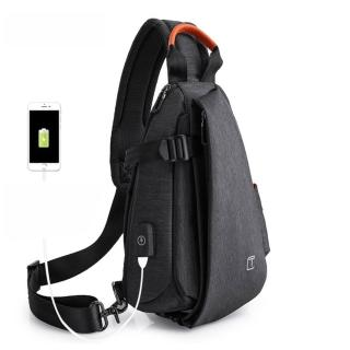 【leaper】多功能防潑水USB充電小款單肩包胸包 共2色(胸包)