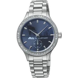 【JILL STUART】Jill by Big Leather系列晶鑽簡約時尚錶款(銀/藍 JISILDT005)
