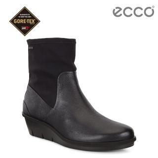 【ecco】SKYLER 防水拼接設計柔軟高筒靴 女(黑 28608351052)