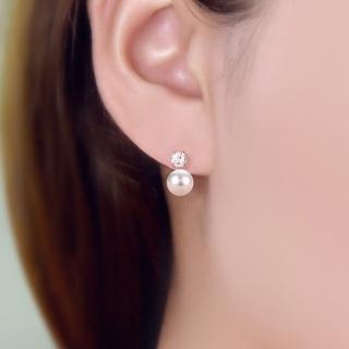 【梨花HaNA】韓國925銀針簡約系列點鑽珍珠耳環