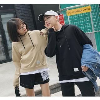 【M.G.】棉質拼接假兩件情侶款衛衣帽T(共四色)