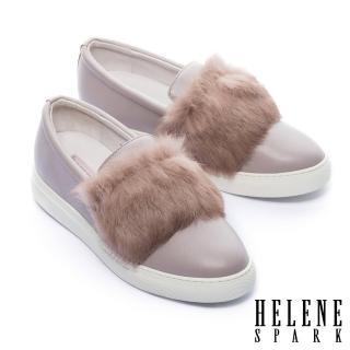【HELENE SPARK】奢華兔毛全真皮厚底休閒鞋(可可)